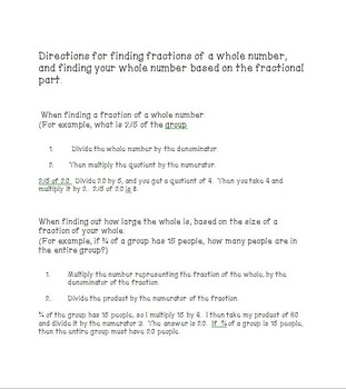 Finding Fractions of Whole Numbers and Finding Whole Numbers Based on Fractions