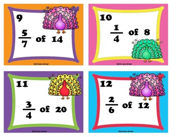 Finding Fractions of a Whole Task Cards