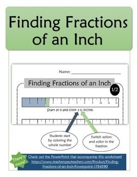 Finding Fractions of an Inch Worksheets