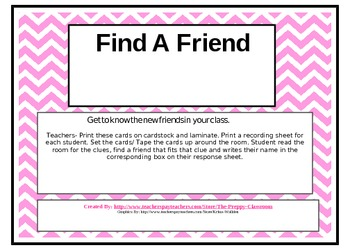 Finding Friends Activity for First Day/Week of School
