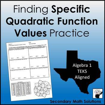 Finding Quadratic Function Values Coloring Activity (A12B)