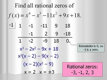 Finding Integral & Rational Zeros