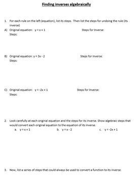 Finding Inverse Functions Algebraically - A Discovery Exercise (Key Included)