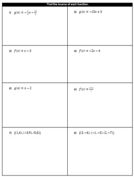 Finding Inverses Guided Notes and HW