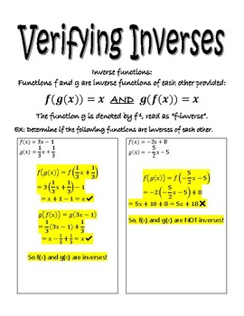 Finding Inverses and Proving Inverses Graphic Organizer