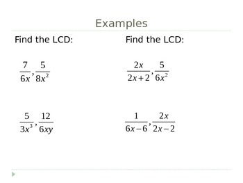Finding LCDs and Renaming Rational Expressions