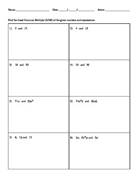 Finding Least Common Multiple (LCM) - H&I Practice Sheets Mini