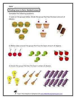 Finding Less - Comparison Teacher Worksheet Pack