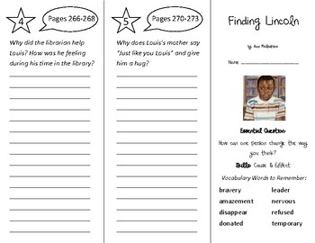 Finding Lincoln Trifold - Wonders 3rd Grade Unit 3 - Independent Reading (2020)