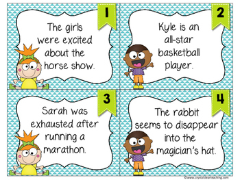 Finding Linking Verbs in Sentences Task Cards