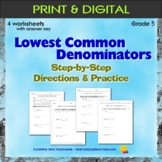Finding Lowest Common Denominators - 4 worksheets - Grade 5 - CCSS