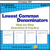 Finding Lowest Common Denominators - Fractions - 4 workshe