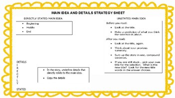 Finding Main Idea and Details Strategy