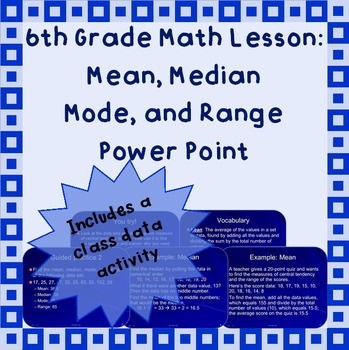 Finding Mean, Median, Mode, and Range: A Power Point Lesson