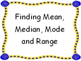 Finding Mean Median Mode and Range Game / Math Center Activity