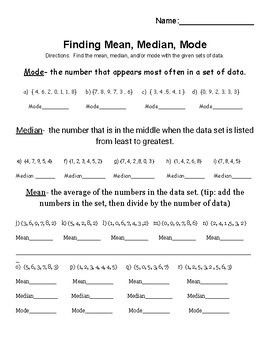Finding Mean, Median, and Mode