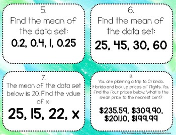 Finding Mean Task Cards