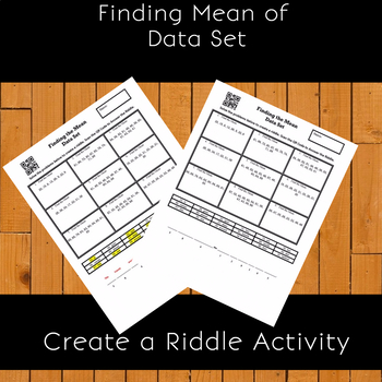 Finding Mean from a Data Set Create a Riddle Activity Freebie