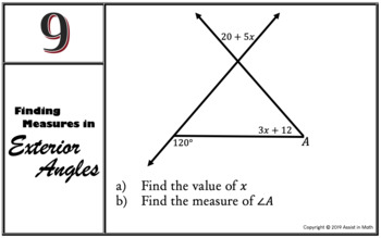 Finding Measures in Exterior Angles Activity