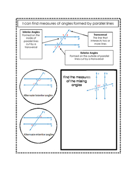 Finding Measures of Angles Formed by Parallel Lines Doodle Notes