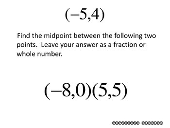 Finding Midpoint Between Two Points Scavenger Hunt - Answers as Fractions - PP