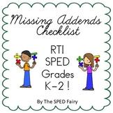 Finding Missing Addends Checklist