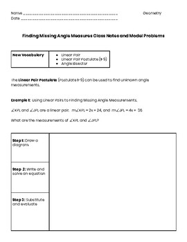 Finding Missing Angle Measures Guided Notes