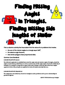 Missing Angles and Side Lengths of Triangle Domino Activity