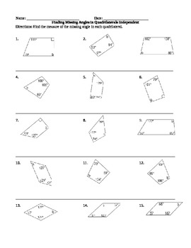 Find The Missing Angles Quadrilateral Worksheets & Teaching ...