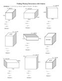 Finding Missing Dimensions with Volume - WORKSHEET for students!