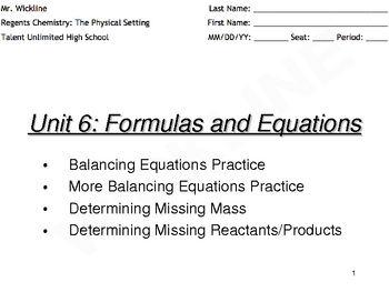 Finding Missing Reactants, Products, and Mass