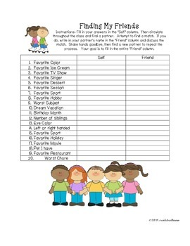 Finding My Friends Teamwork Activity- Back to School