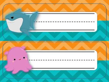 Finding Nemo/Dory Desk Nameplates {Bright Waves & Chevron} EDITABLE
