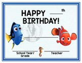 Finding Nemo & Dory - Happy Birthday - Birthday Certificate