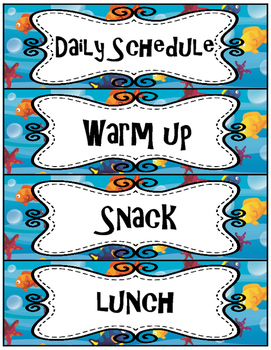 Finding Nemo/ Dory Schedule Cards