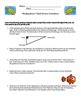 Finding Nemo Math Worksheet