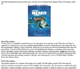 Finding Nemo Movie Guide and Answer Key