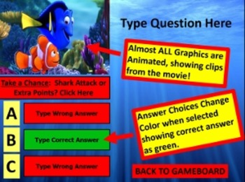 Finding Nemo Review Game Template POWERPOINT