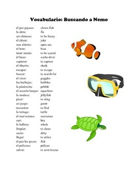 Finding Nemo: Spanish Vocabulary and Writing Activity (Present/Past)