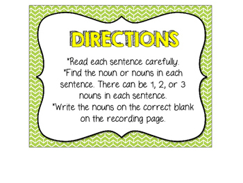 Finding Nouns in Sentences Task Cards