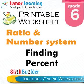 Finding Percent Printable Worksheet, Grade 6
