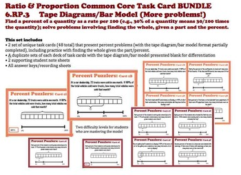 Finding Percent Tape Diagram Bar Model Task Cards BUNDLE 6RP3