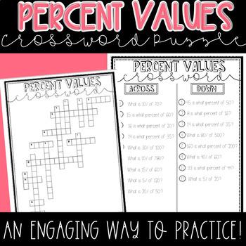 Finding Percent Values Crossword Puzzle