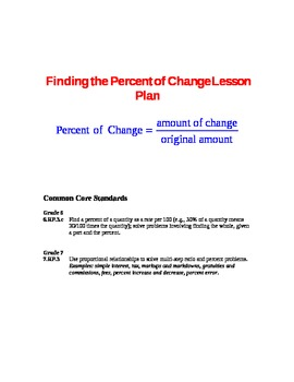 Finding Percent of Change Lesson Plan