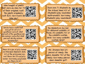 Finding Percent of a Number QR Code Task Cards
