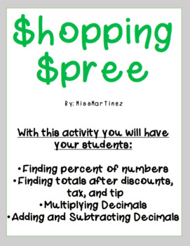 Finding Percent of a Number Shopping Spree!