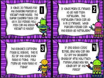 Finding Percents :  Robot Themed WORD PROBLEM Task Card