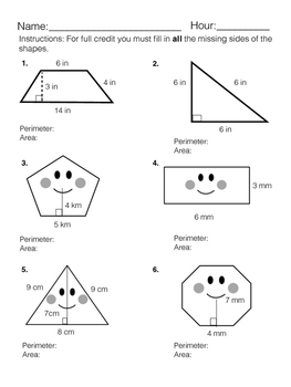 Finding Perimeter and Area of Shapes