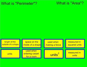Finding Perimeter and Area of Unknown Rectangular Shapes Smart Board Lesson