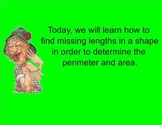 Finding Perimeter and Area of Unknown Rectangular Shapes S